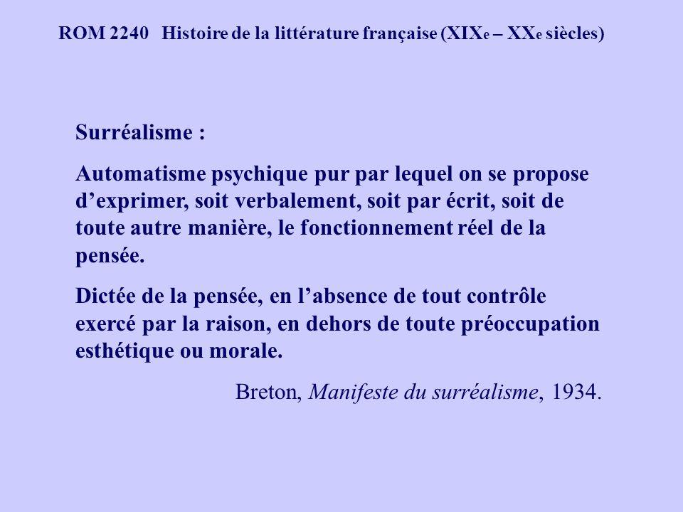 ROM 2240 Histoire de la littérature française (XIX e – XX e siècles) Surréalisme : Automatisme psychique pur par lequel on se propose dexprimer, soit verbalement, soit par écrit, soit de toute autre manière, le fonctionnement réel de la pensée.