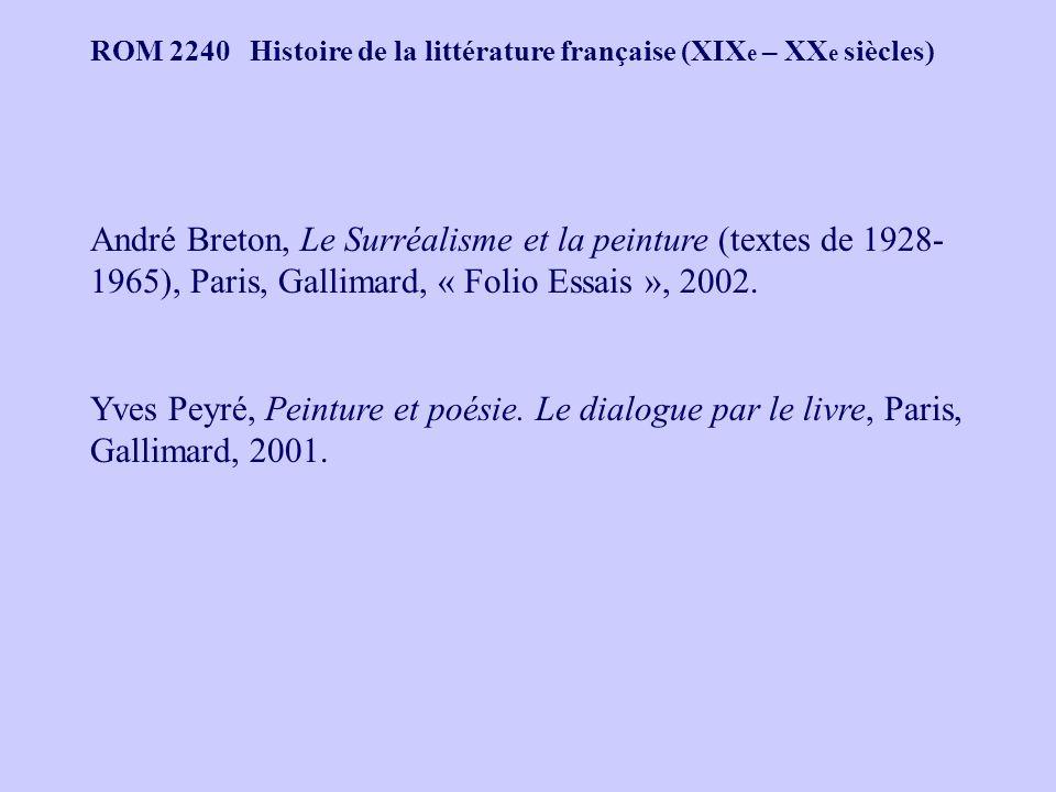 André Breton, Le Surréalisme et la peinture (textes de 1928- 1965), Paris, Gallimard, « Folio Essais », 2002. Yves Peyré, Peinture et poésie. Le dialo