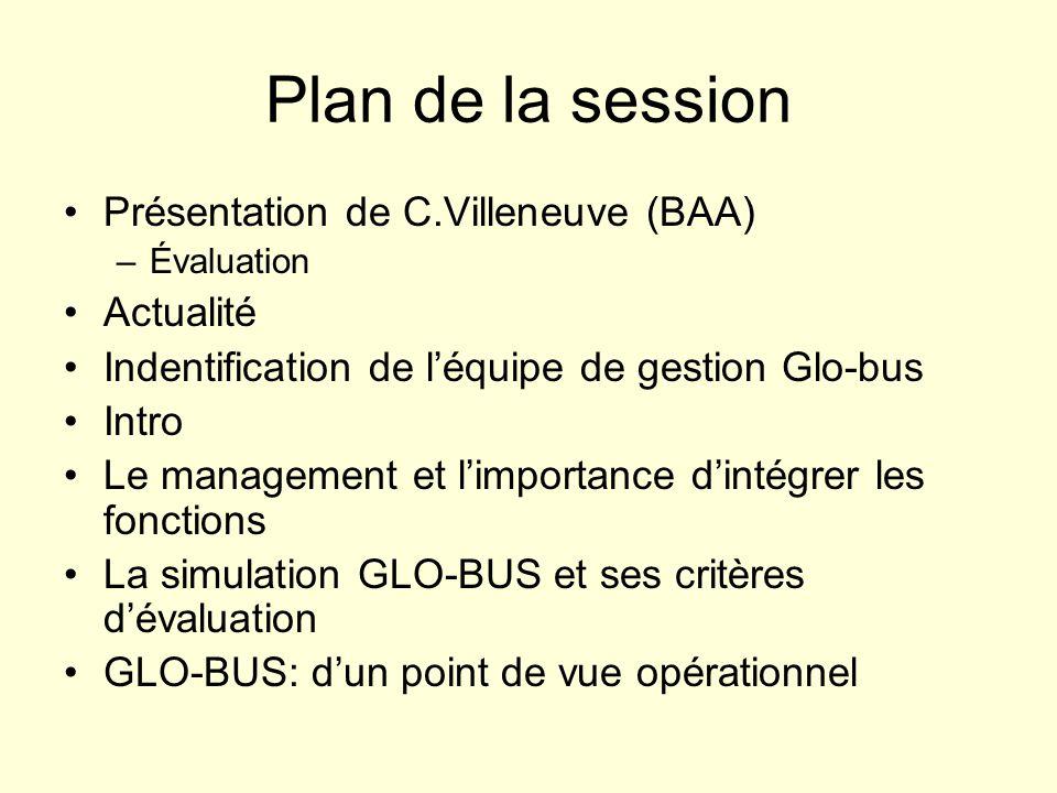 Plan de la session Présentation de C.Villeneuve (BAA) –Évaluation Actualité Indentification de léquipe de gestion Glo-bus Intro Le management et limportance dintégrer les fonctions La simulation GLO-BUS et ses critères dévaluation GLO-BUS: dun point de vue opérationnel