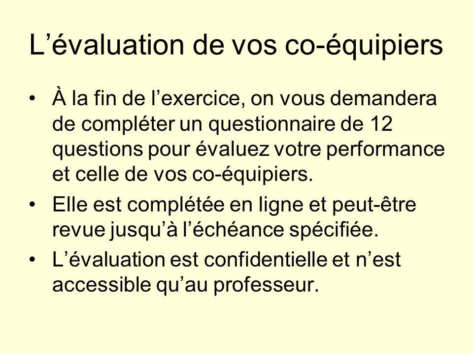 Lévaluation de vos co-équipiers À la fin de lexercice, on vous demandera de compléter un questionnaire de 12 questions pour évaluez votre performance et celle de vos co-équipiers.