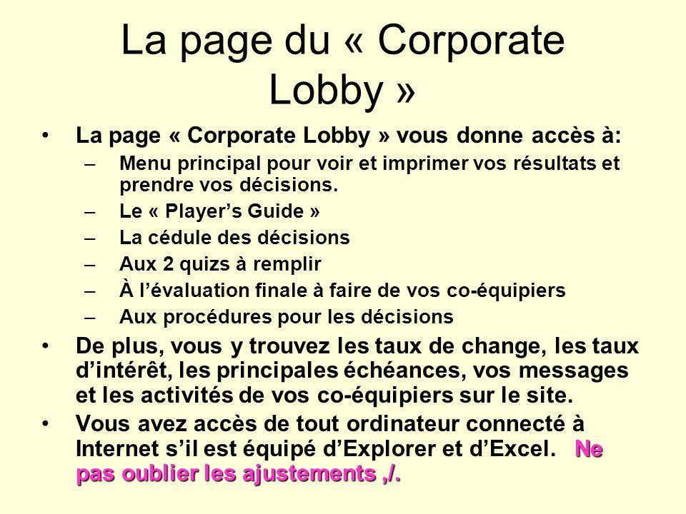 La page du « Corporate Lobby » La page « Corporate Lobby » vous donne accès à: –Menu principal pour voir et imprimer vos résultats et prendre vos décisions.