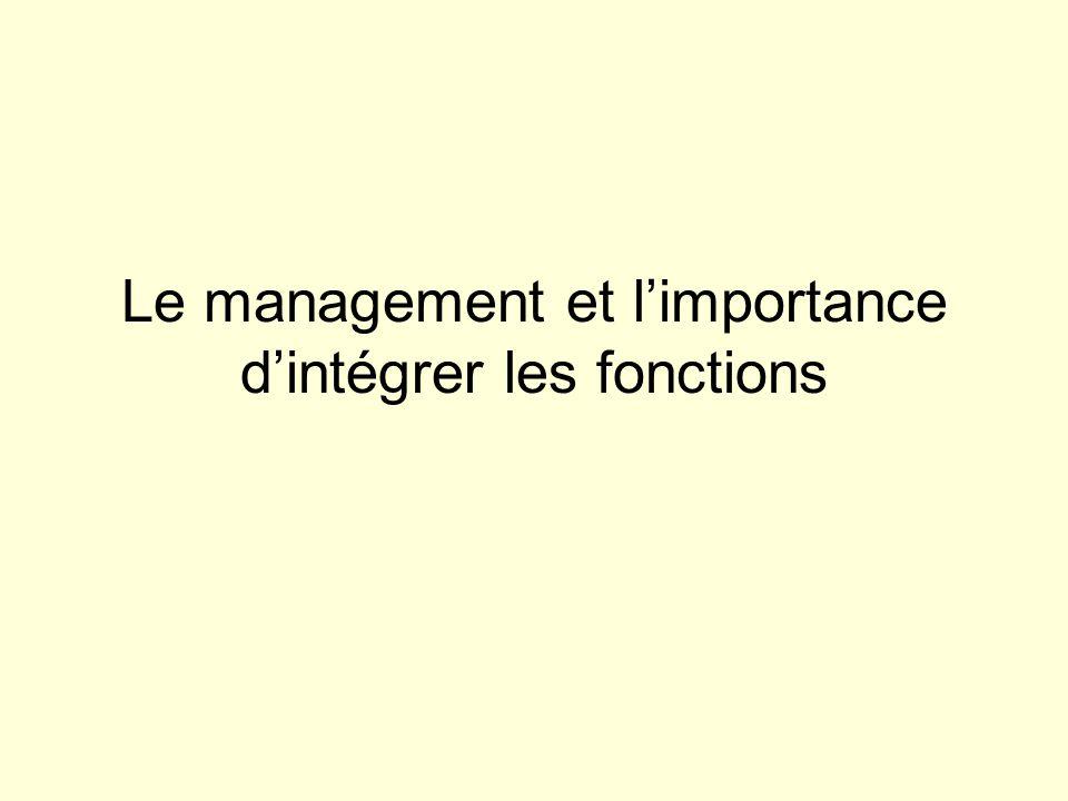 Le management et limportance dintégrer les fonctions