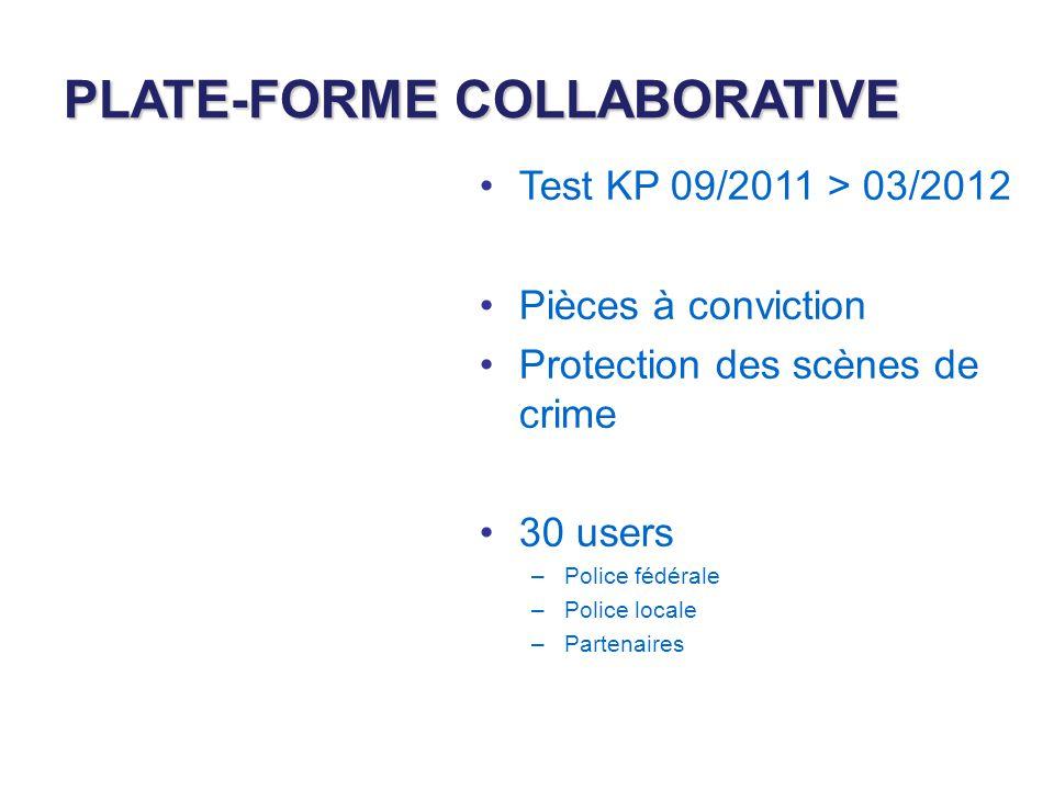 PLATE-FORME COLLABORATIVE Test KP 09/2011 > 03/2012 Pièces à conviction Protection des scènes de crime 30 users –Police fédérale –Police locale –Partenaires
