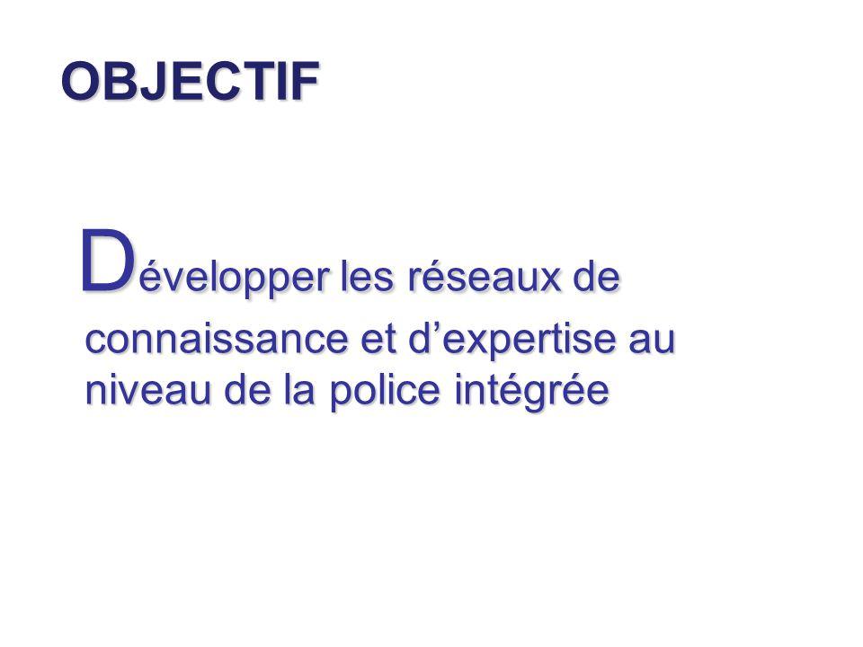 OBJECTIF D évelopper les réseaux de connaissance et dexpertise au niveau de la police intégrée D évelopper les réseaux de connaissance et dexpertise au niveau de la police intégrée