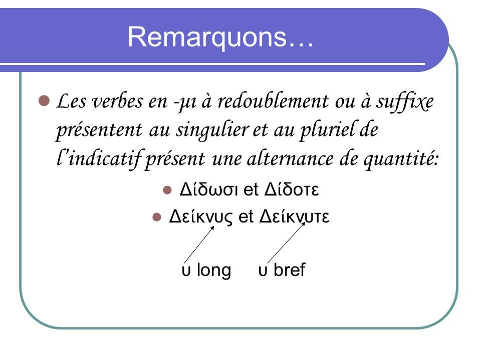 Remarquons… Les verbes en -μι à redoublement ou à suffixe présentent au singulier et au pluriel de lindicatif présent une alternance de quantité: Δ δω