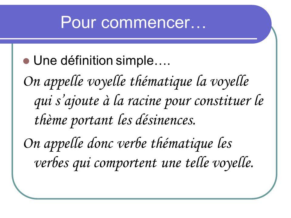 Pour commencer… Une définition simple…. On appelle voyelle thématique la voyelle qui sajoute à la racine pour constituer le thème portant les désinenc