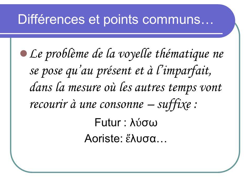 Différences et points communs… Le problème de la voyelle thématique ne se pose quau présent et à limparfait, dans la mesure où les autres temps vont r