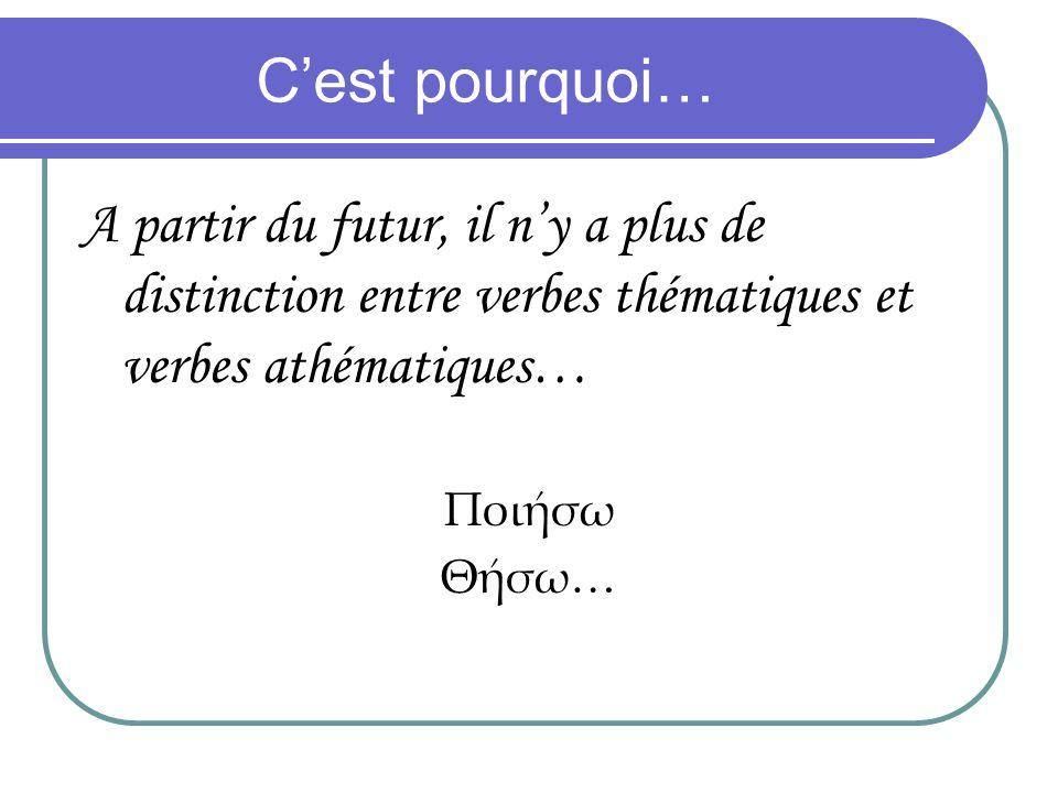 Cest pourquoi… A partir du futur, il ny a plus de distinction entre verbes thématiques et verbes athématiques… Ποισω Θσω…