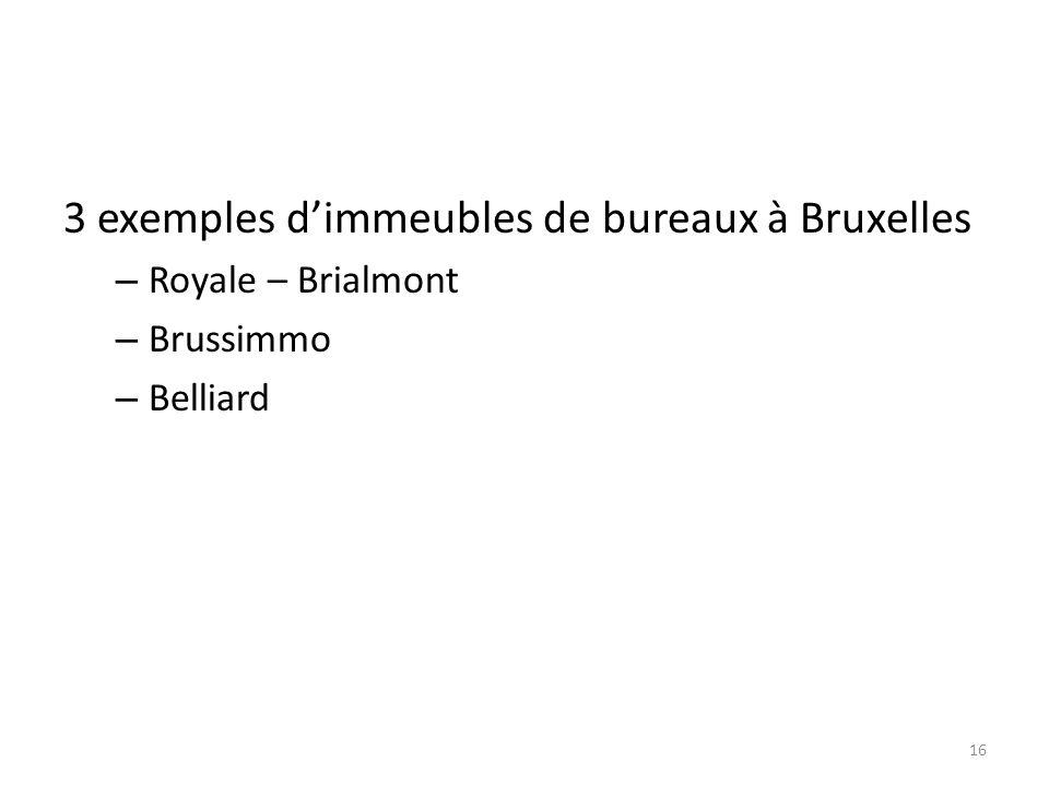 3 exemples dimmeubles de bureaux à Bruxelles – Royale – Brialmont – Brussimmo – Belliard 16