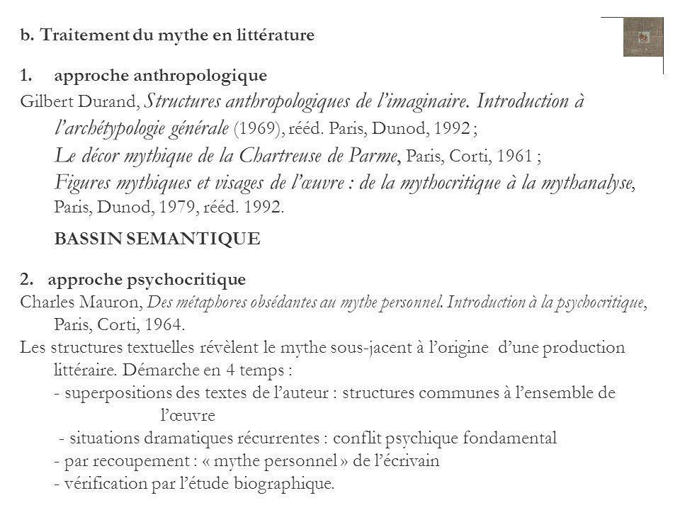 b. Traitement du mythe en littérature 1.approche anthropologique Gilbert Durand, Structures anthropologiques de limaginaire. Introduction à larchétypo