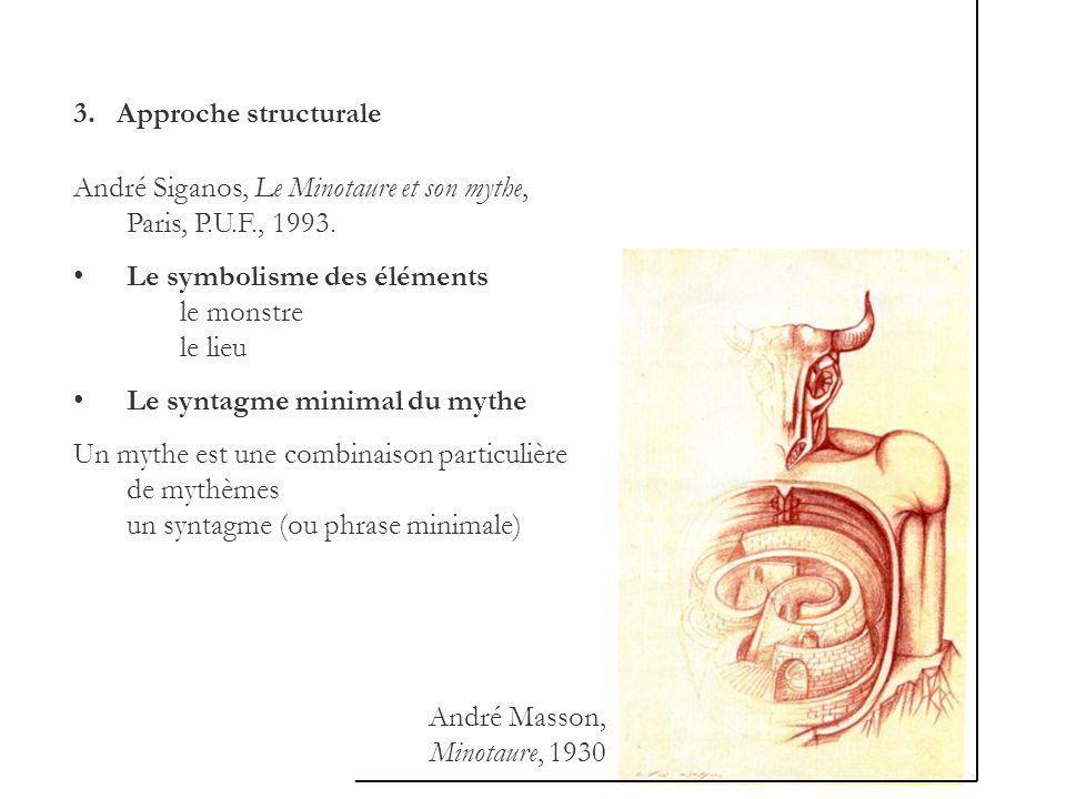 3. Approche structurale André Siganos, Le Minotaure et son mythe, Paris, P.U.F., 1993. Le symbolisme des éléments le monstre le lieu Le syntagme minim