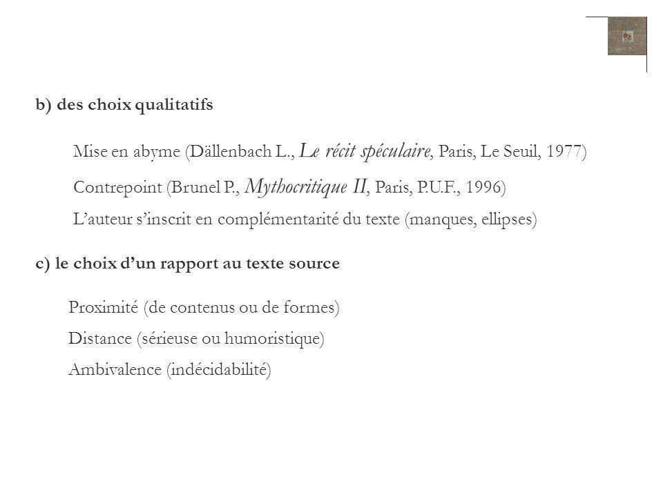 b) des choix qualitatifs Mise en abyme (Dällenbach L., Le récit spéculaire, Paris, Le Seuil, 1977) Contrepoint (Brunel P., Mythocritique II, Paris, P.