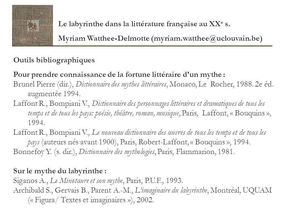 Outils bibliographiques Pour prendre connaissance de la fortune littéraire dun mythe : Brunel Pierre (dir.), Dictionnaire des mythes littéraires, Mona