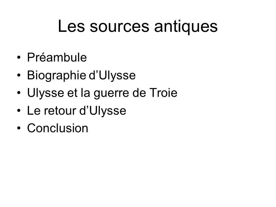 Les sources antiques Préambule Biographie dUlysse Ulysse et la guerre de Troie Le retour dUlysse Conclusion