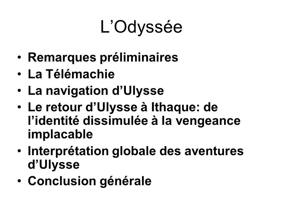 LOdyssée Remarques préliminaires La Télémachie La navigation dUlysse Le retour dUlysse à Ithaque: de lidentité dissimulée à la vengeance implacable In