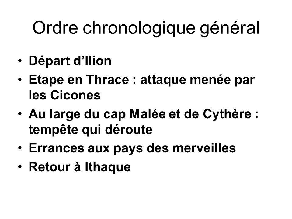 Ordre chronologique général Départ dIlion Etape en Thrace : attaque menée par les Cicones Au large du cap Malée et de Cythère : tempête qui déroute Er