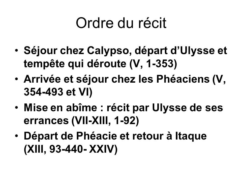 Ordre du récit Séjour chez Calypso, départ dUlysse et tempête qui déroute (V, 1-353) Arrivée et séjour chez les Phéaciens (V, 354-493 et VI) Mise en a
