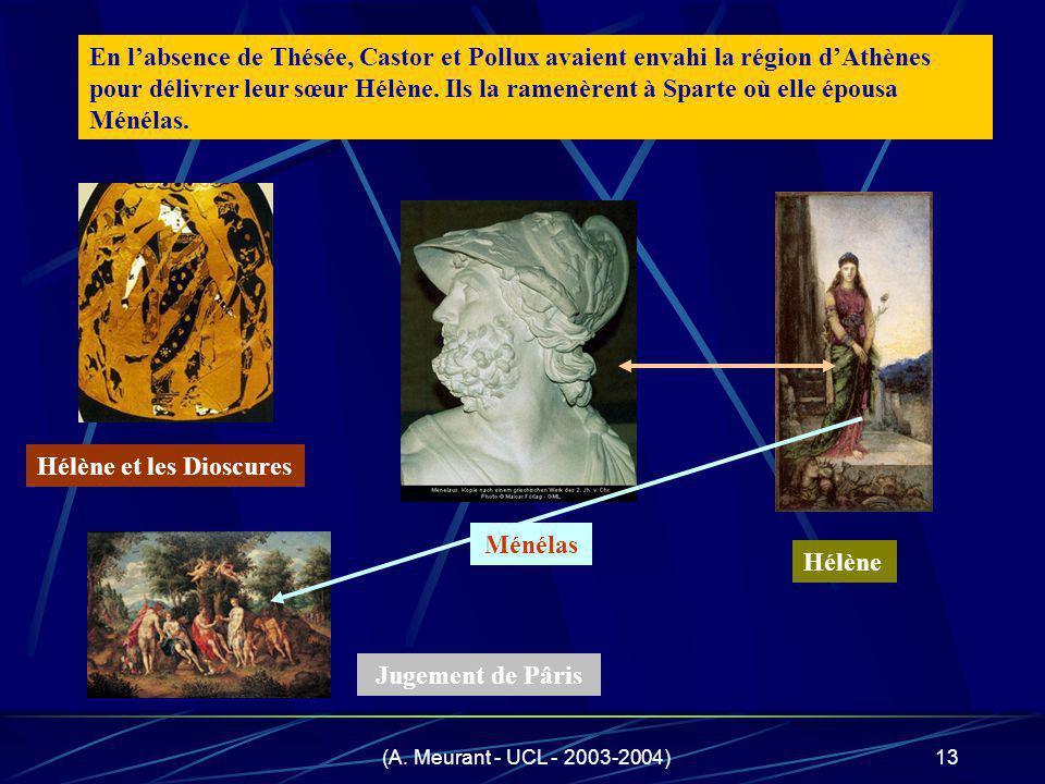 (A. Meurant - UCL - 2003-2004)13 En labsence de Thésée, Castor et Pollux avaient envahi la région dAthènes pour délivrer leur sœur Hélène. Ils la rame