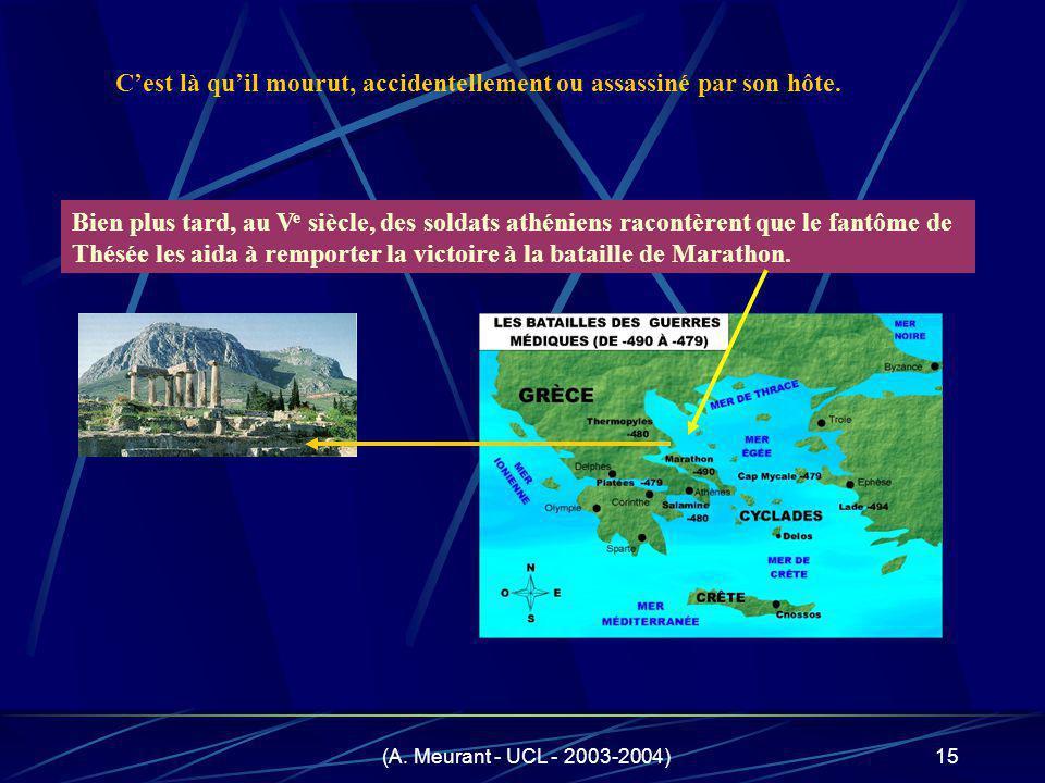 (A. Meurant - UCL - 2003-2004)15 Bien plus tard, au V e siècle, des soldats athéniens racontèrent que le fantôme de Thésée les aida à remporter la vic