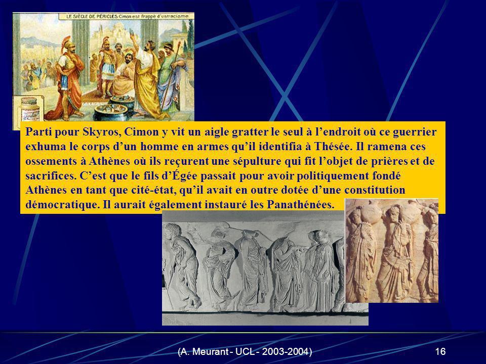 (A. Meurant - UCL - 2003-2004)16 Parti pour Skyros, Cimon y vit un aigle gratter le seul à lendroit où ce guerrier exhuma le corps dun homme en armes