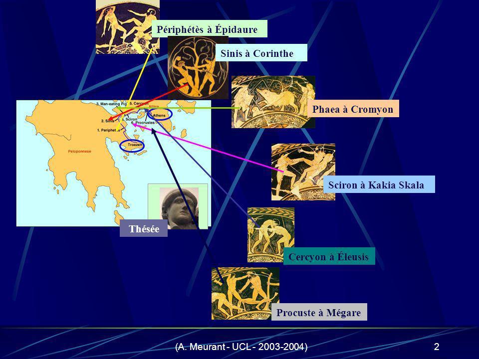 (A. Meurant - UCL - 2003-2004)2 Périphétès à Épidaure Phaea à Cromyon Sciron à Kakia Skala Cercyon à Éleusis Procuste à Mégare Thésée Sinis à Corinthe