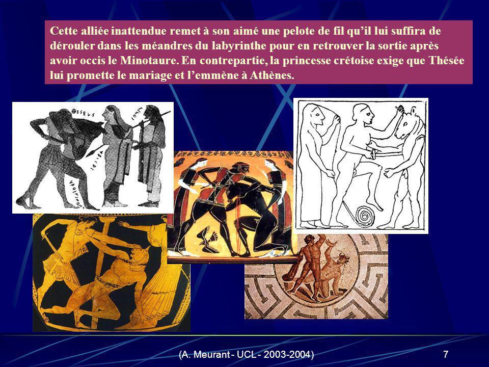 (A. Meurant - UCL - 2003-2004)7 Cette alliée inattendue remet à son aimé une pelote de fil quil lui suffira de dérouler dans les méandres du labyrinth