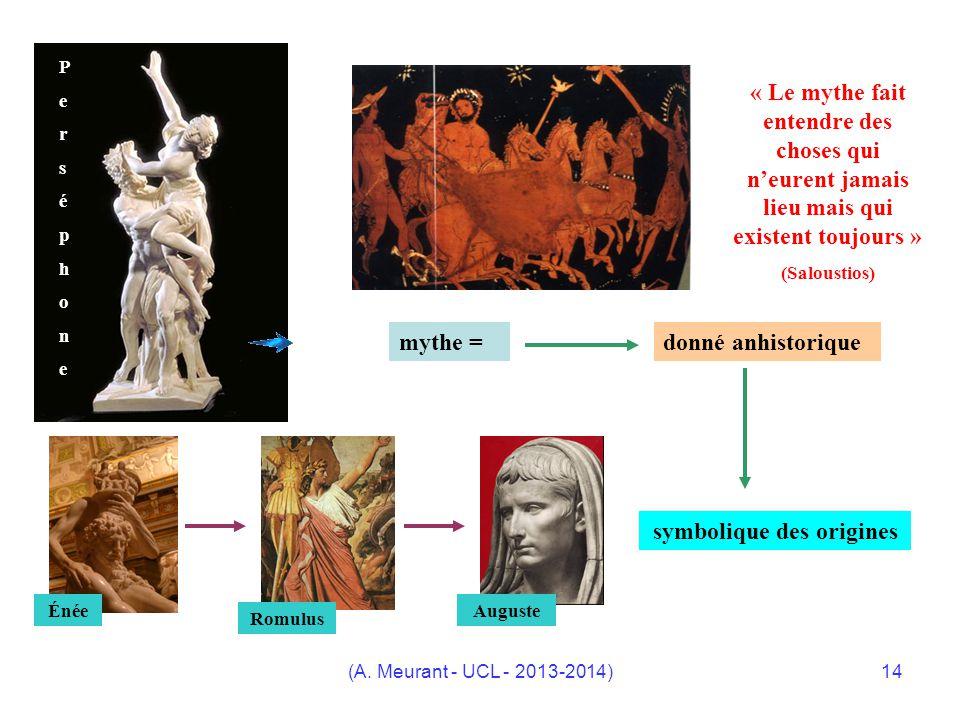 (A. Meurant - UCL - 2013-2014)14 P e r s é p h o n e mythe = donné anhistorique symbolique des origines Énée Romulus Auguste « Le mythe fait entendre