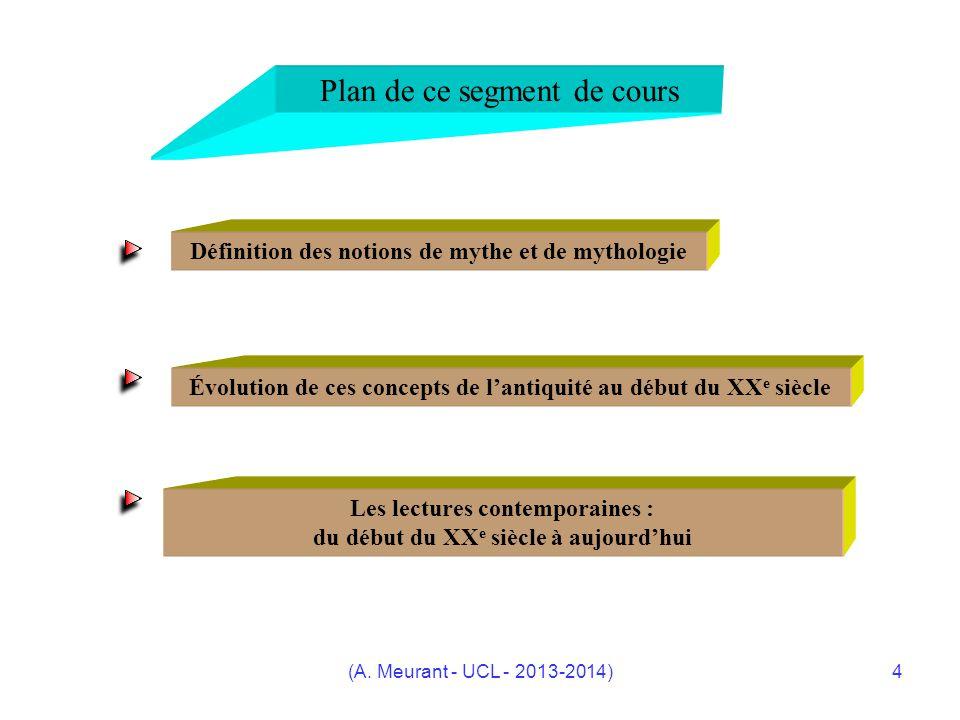 (A. Meurant - UCL - 2013-2014)4 Plan de ce segment de cours Définition des notions de mythe et de mythologie Évolution de ces concepts de lantiquité a