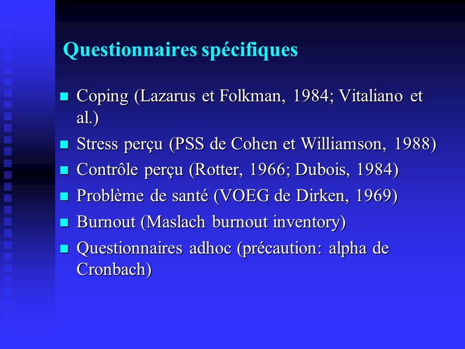Questionnaires spécifiques Coping (Lazarus et Folkman, 1984; Vitaliano et al.) Coping (Lazarus et Folkman, 1984; Vitaliano et al.) Stress perçu (PSS de Cohen et Williamson, 1988) Stress perçu (PSS de Cohen et Williamson, 1988) Contrôle perçu (Rotter, 1966; Dubois, 1984) Contrôle perçu (Rotter, 1966; Dubois, 1984) Problème de santé (VOEG de Dirken, 1969) Problème de santé (VOEG de Dirken, 1969) Burnout (Maslach burnout inventory) Burnout (Maslach burnout inventory) Questionnaires adhoc (précaution: alpha de Cronbach) Questionnaires adhoc (précaution: alpha de Cronbach)