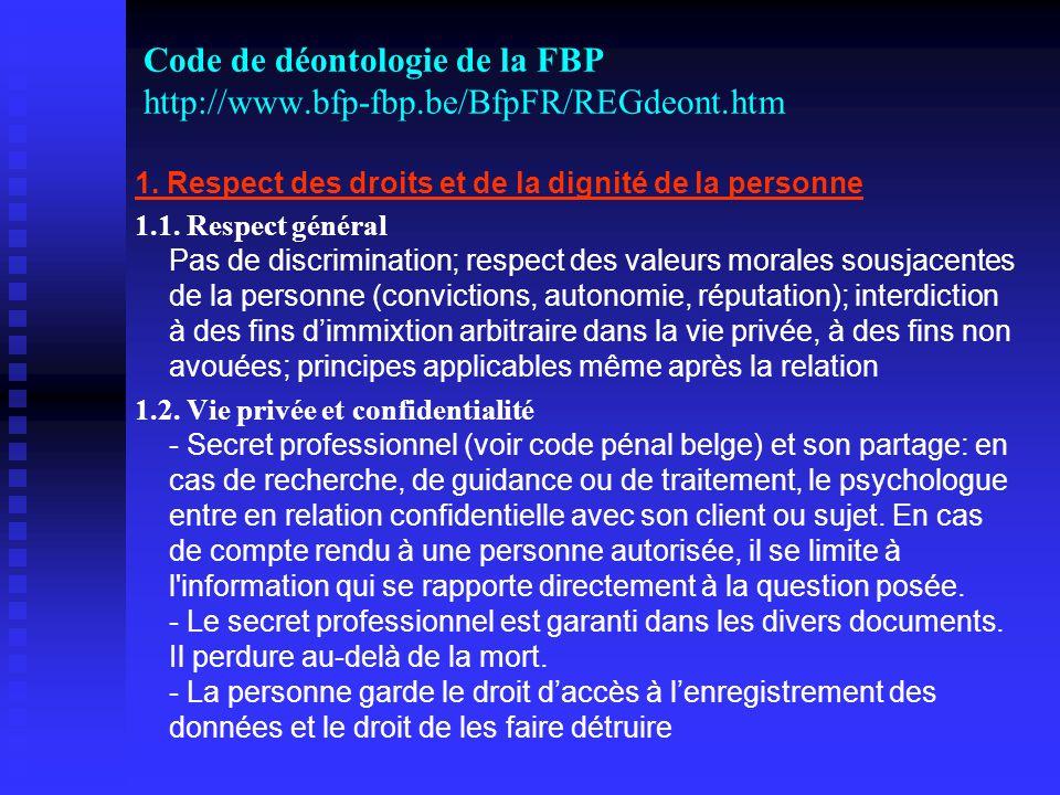 Code de déontologie de la FBP http://www.bfp-fbp.be/BfpFR/REGdeont.htm 1.