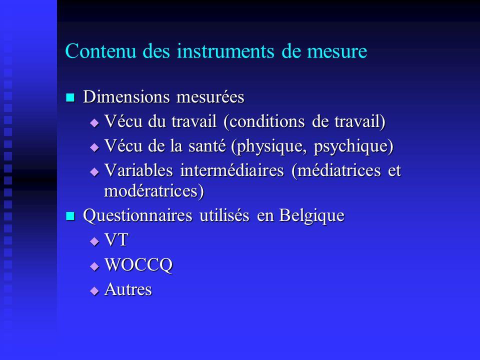 Contenu des instruments de mesure Dimensions mesurées Dimensions mesurées Vécu du travail (conditions de travail) Vécu du travail (conditions de travail) Vécu de la santé (physique, psychique) Vécu de la santé (physique, psychique) Variables intermédiaires (médiatrices et modératrices) Variables intermédiaires (médiatrices et modératrices) Questionnaires utilisés en Belgique Questionnaires utilisés en Belgique VT VT WOCCQ WOCCQ Autres Autres