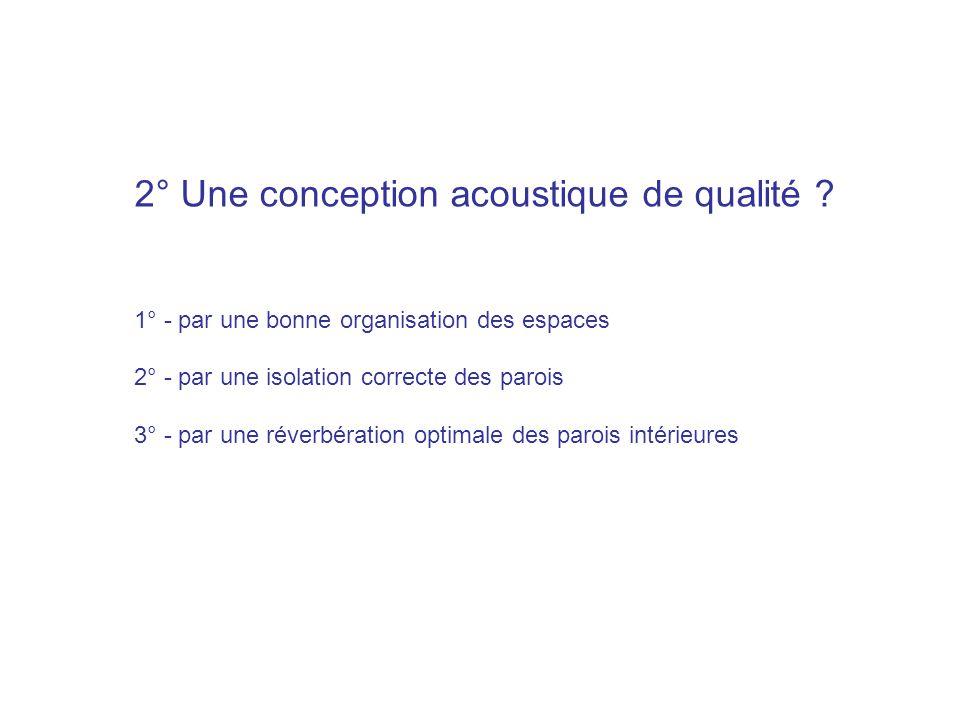 2° Une conception acoustique de qualité ? 1° - par une bonne organisation des espaces 2° - par une isolation correcte des parois 3° - par une réverbér