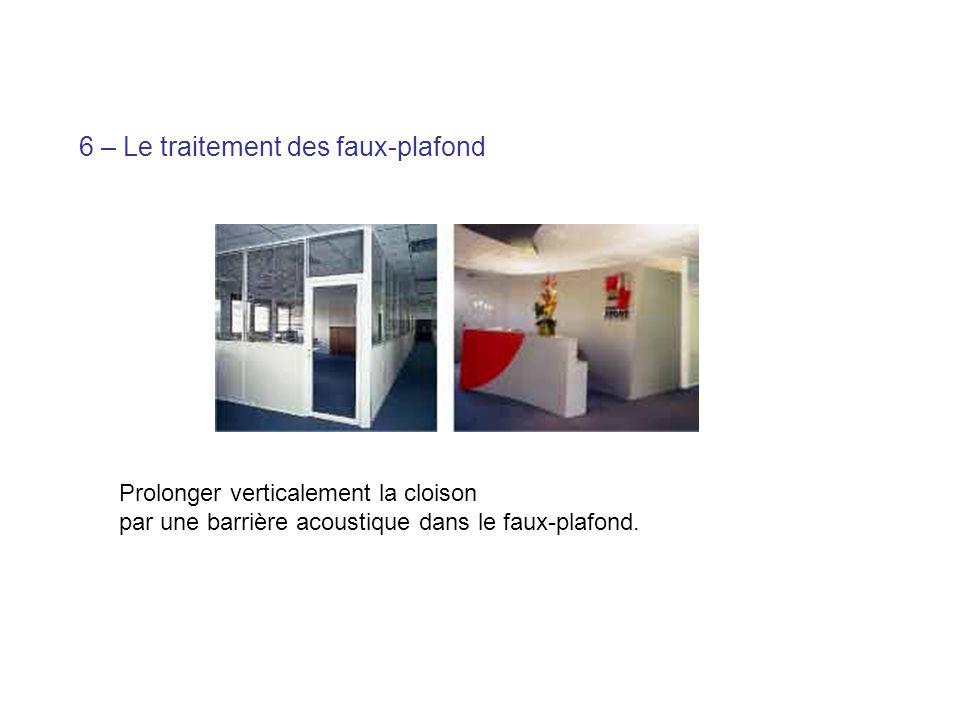 6 – Le traitement des faux-plafond Prolonger verticalement la cloison par une barrière acoustique dans le faux-plafond.