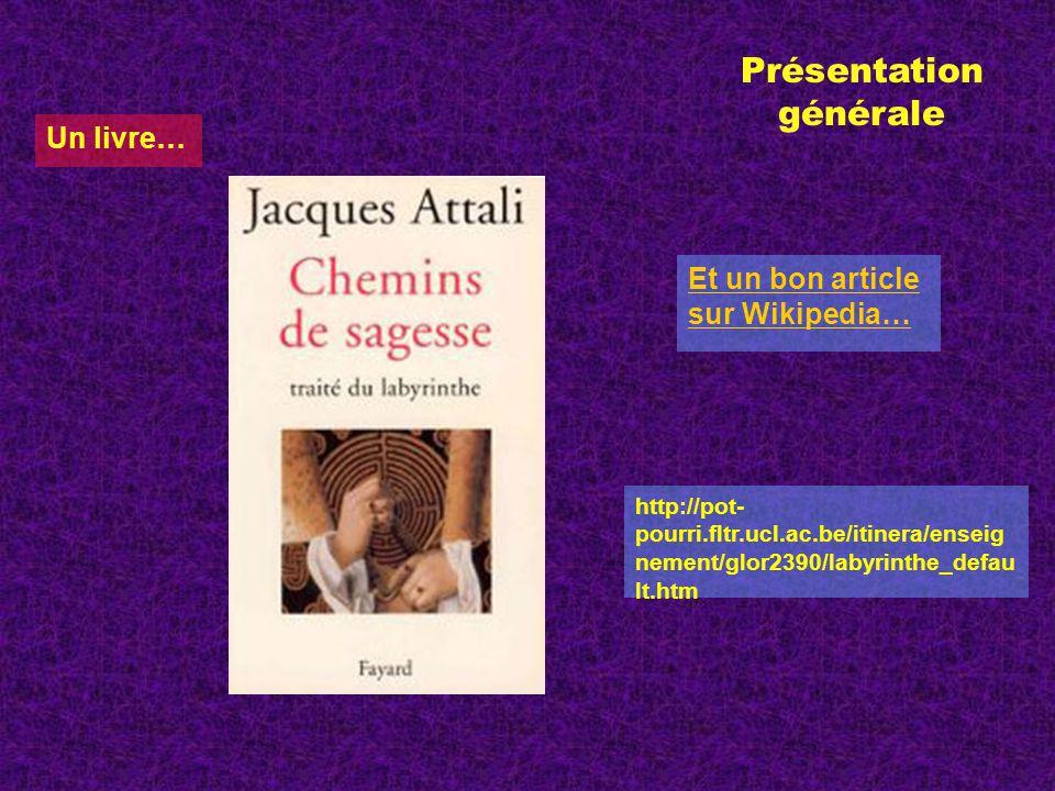 Un livre… Et un bon article sur Wikipedia… Présentation générale http://pot- pourri.fltr.ucl.ac.be/itinera/enseig nement/glor2390/labyrinthe_defau lt.htm
