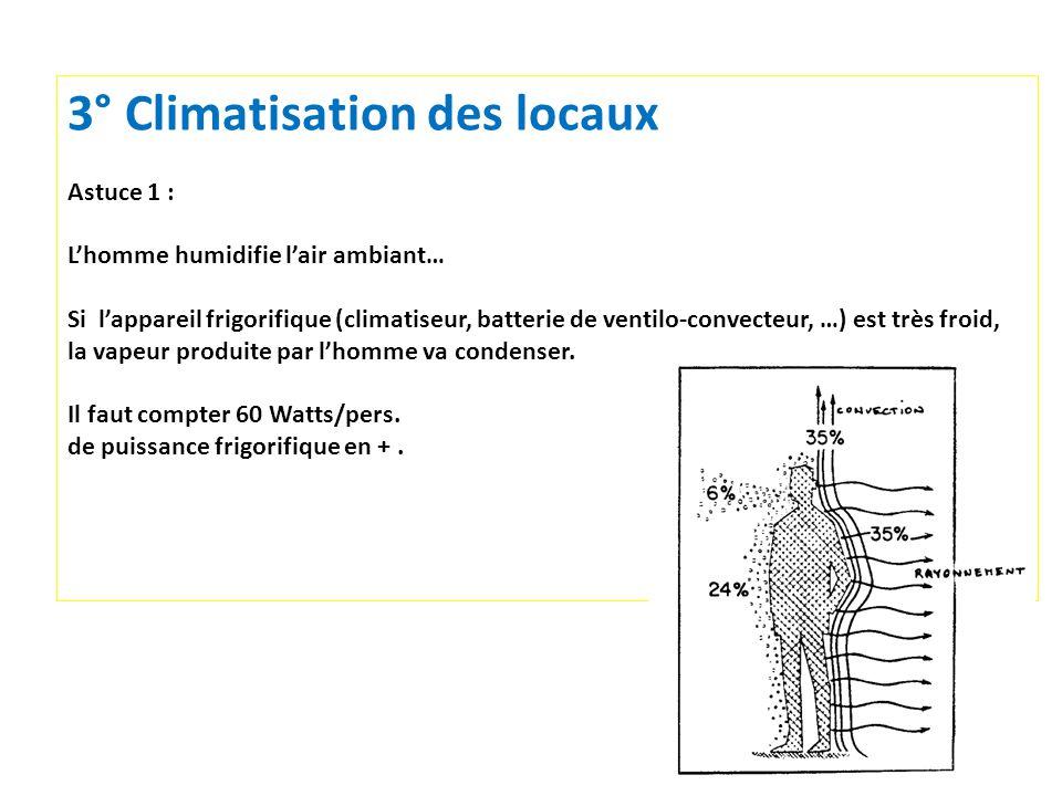11 3° Climatisation des locaux Astuce 1 : Lhomme humidifie lair ambiant… Si lappareil frigorifique (climatiseur, batterie de ventilo-convecteur, …) es
