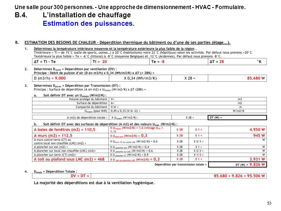 53 Une salle pour 300 personnes. - Une approche de dimensionnement - HVAC - Formulaire. B.4.Linstallation de chauffage Estimation des puissances.