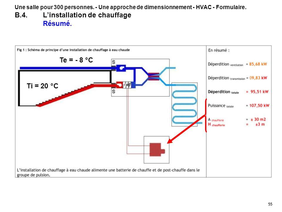 55 Une salle pour 300 personnes. - Une approche de dimensionnement - HVAC - Formulaire. B.4.Linstallation de chauffage Résumé. Te = - 8 °C Ti = 20 °C