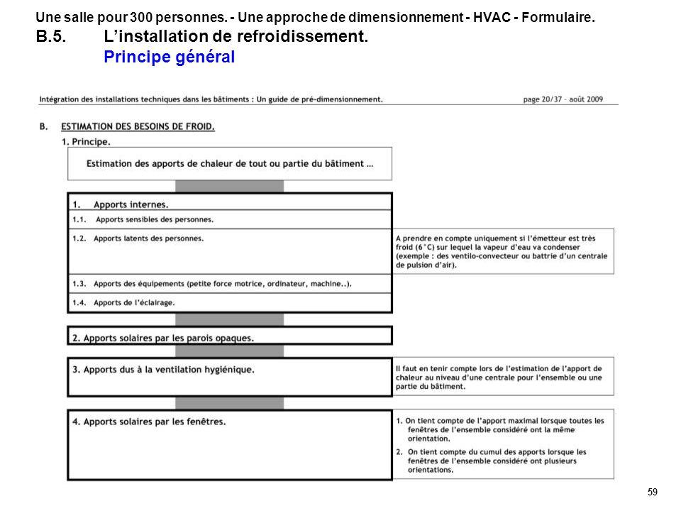 59 Une salle pour 300 personnes. - Une approche de dimensionnement - HVAC - Formulaire. B.5.Linstallation de refroidissement. Principe général