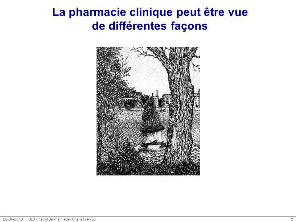 28-04-2010 ULB - Institut de Pharmacie - Chaire Francqui73 Que peuvent faire les pharmaciens d officine .