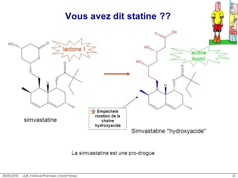28-04-2010 ULB - Institut de Pharmacie - Chaire Francqui20 Vous avez dit statine ?? O HO O O H O simvastatine lactone ! Simvastatine