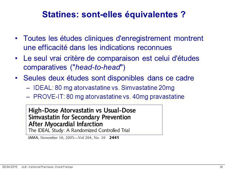 28-04-2010 ULB - Institut de Pharmacie - Chaire Francqui38 Statines: sont-elles équivalentes ? Toutes les études cliniques d'enregistrement montrent u