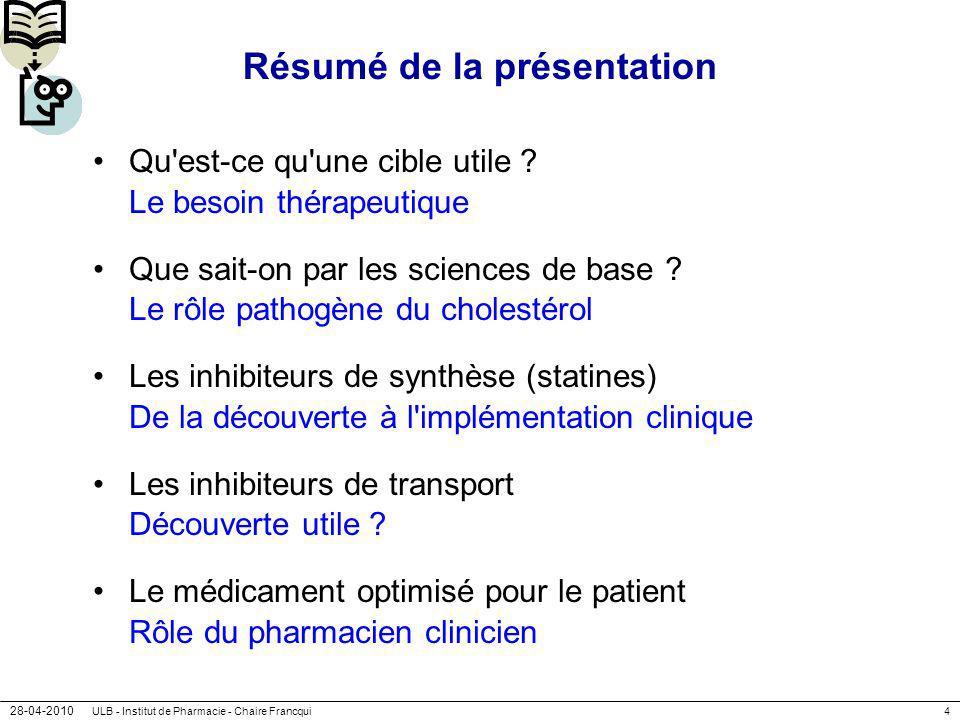 28-04-2010 ULB - Institut de Pharmacie - Chaire Francqui4 Résumé de la présentation Qu'est-ce qu'une cible utile ? Le besoin thérapeutique Que sait-on