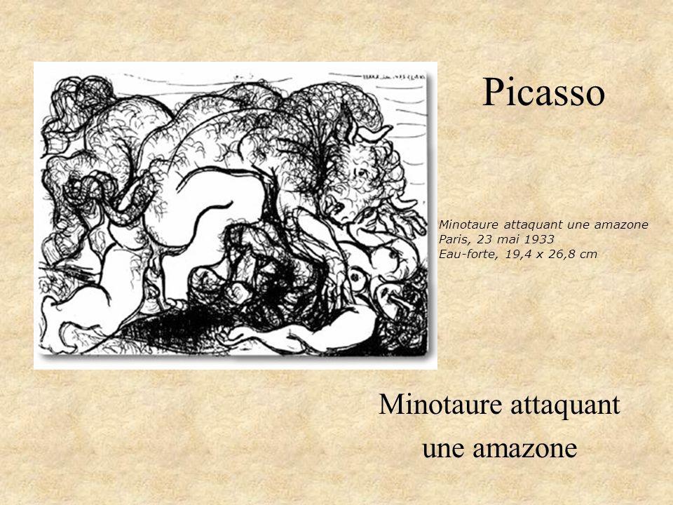 Picasso Minotaure attaquant une amazone Minotaure attaquant une amazone Paris, 23 mai 1933 Eau-forte, 19,4 x 26,8 cm