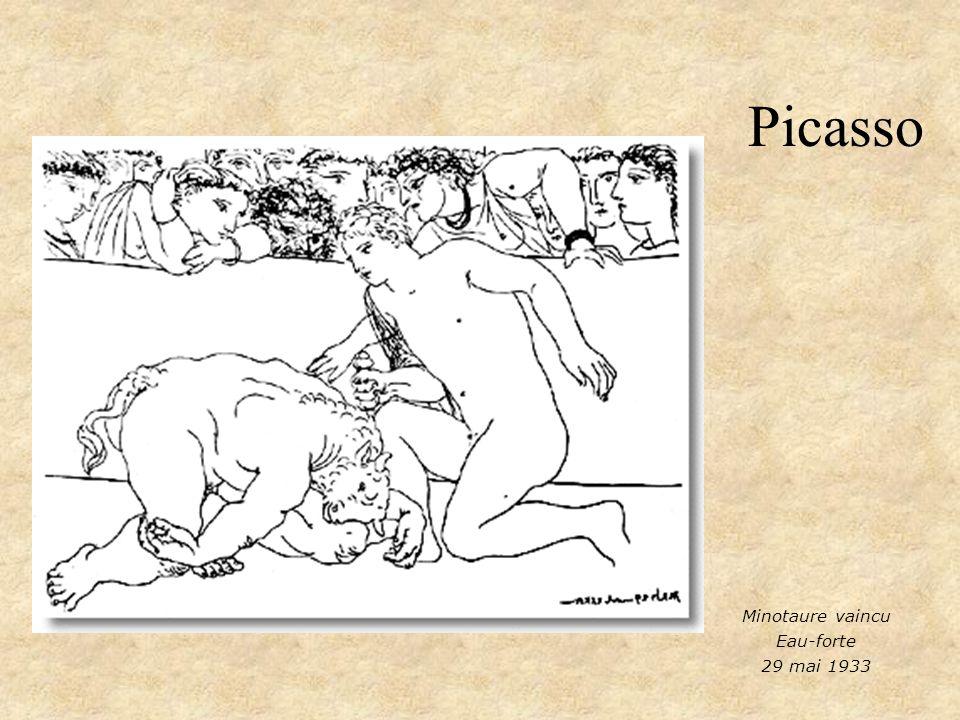 Picasso Minotaure vaincu Eau-forte 29 mai 1933
