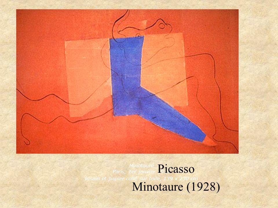 Minotaure Paris, 1er janvier 1928 fusain et papier collé sur toile, 139 x 230 cm Picasso Minotaure (1928)
