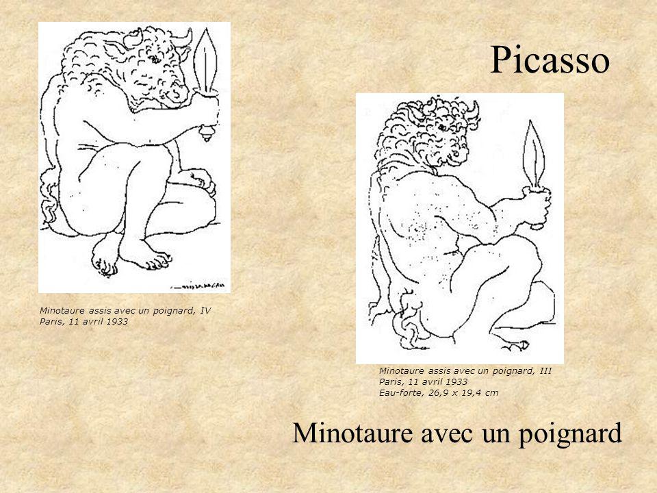 Picasso Minotaure avec un poignard Minotaure assis avec un poignard, IV Paris, 11 avril 1933 Minotaure assis avec un poignard, III Paris, 11 avril 193