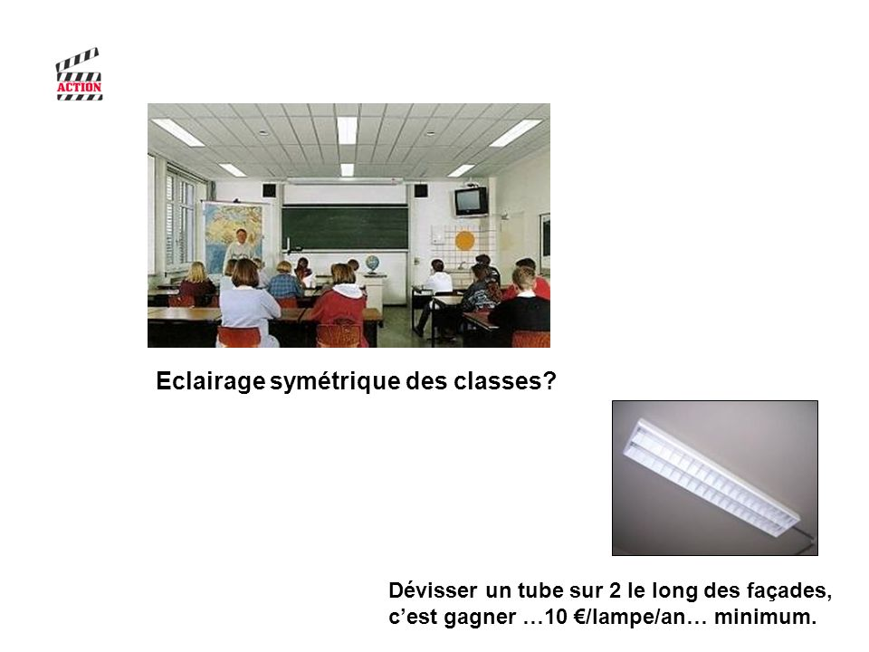 Dévisser un tube sur 2 le long des façades, cest gagner …10 /lampe/an… minimum. Eclairage symétrique des classes?