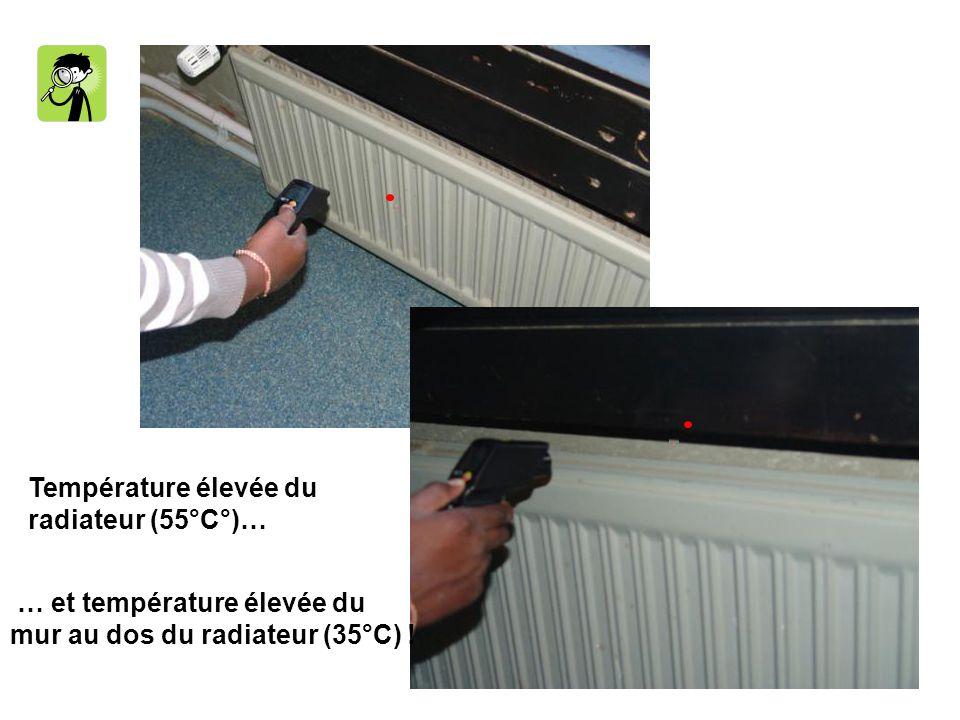 Température élevée du radiateur (55°C°)… … et température élevée du mur au dos du radiateur (35°C) !