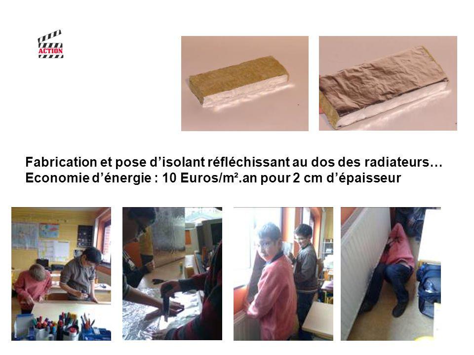 Fabrication et pose disolant réfléchissant au dos des radiateurs… Economie dénergie : 10 Euros/m².an pour 2 cm dépaisseur