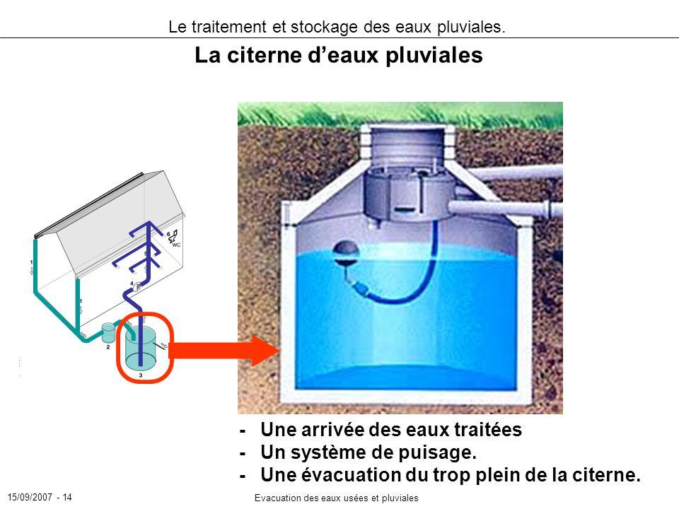15/09/2007 - 14 Evacuation des eaux usées et pluviales Le traitement et stockage des eaux pluviales. La citerne deaux pluviales -Une arrivée des eaux